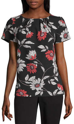 Liz Claiborne Secret Garden Womens Round Neck Short Sleeve Blouse