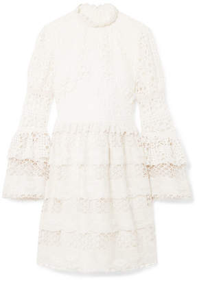 Anna Sui Dew Drop & Trellis Guipure Lace Mini Dress - Cream