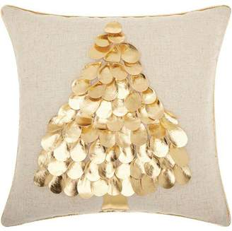 Nourison Home For The Holiday Metallic Tree Gold Throw Pillow