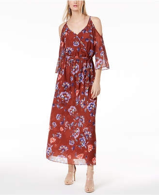 Bar III Floral-Print Cold-Shoulder Dress, Created for Macy's