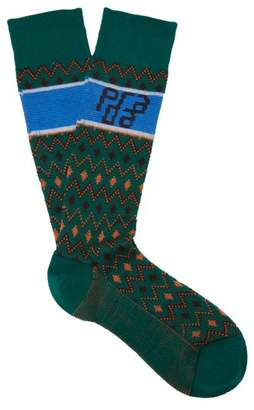 Prada Logo Cotton Blend Socks - Womens - Green