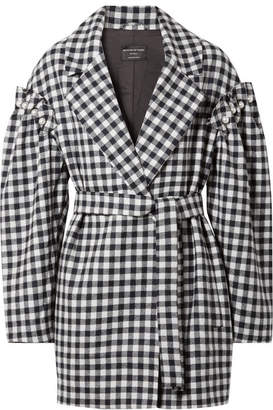 Mother of Pearl Emmett Belted Faux Pearl-embellished Gingham Wool Jacket - Black