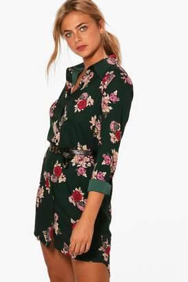 boohoo Floral Printed Shirt Dress