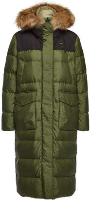 Blauer Impermeable Quilted Down Coat with Fur-Trimmed Hood