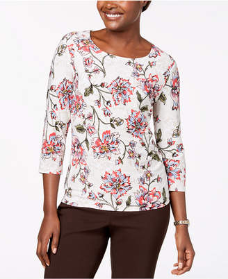 JM Collection 3/4-Sleeve Novelty Printed Jacquard Top