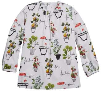 Oscar de la Renta Flower Pots On Silk Twill Long Sleeve Blouse