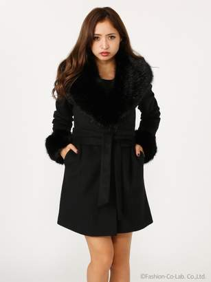 Rienda サッシュBELT付Faux Fur Wool MIX CT