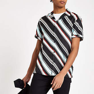 River Island Light blue diagonal stripe short sleeve shirt