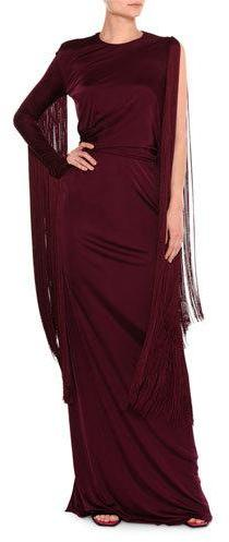 Emilio Pucci One-Sleeve Fringe Column Gown