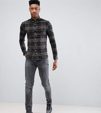 Asos DESIGN Tall skinny check shirt in khaki
