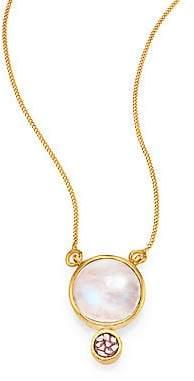 Ophelia Shana Gulati Women's Moonstone & Sliced Raw Diamond Pendant 18K Yellow Goldplated Necklace