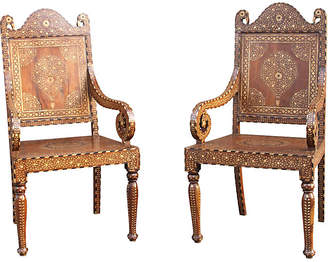 One Kings Lane Vintage Teak Inlaid Peacock Chairs - Set of 2