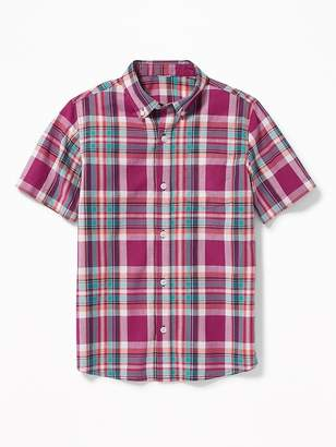 Old Navy Classic Built-In Flex Plaid Shirt for Boys