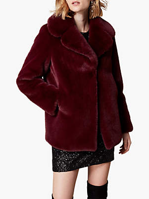 Relaxed Faux Fur Jacket, Aubergine