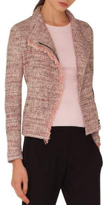 Akris Punto Zip-Front Tweed Jacket w/ Frayed Edge
