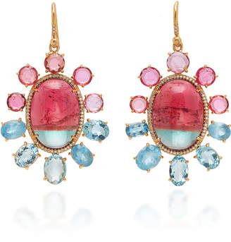 Irene Neuwirth One-Of-A-Kind Watermelon Tourmaline And 18K Rose Gold Drop Earrings
