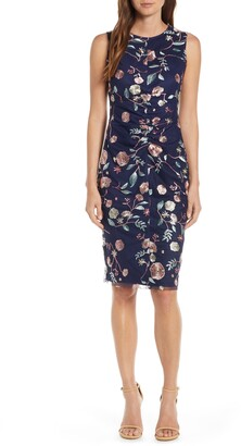 Vince Camuto Embroidered Mesh Sheath Dress