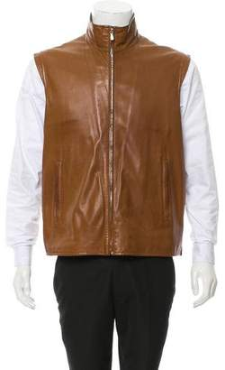 Loro Piana Leather Mock Neck Vest