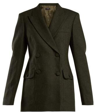 Joseph Moore Double Breasted Herringbone Jacket - Womens - Dark Green