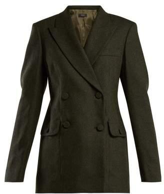 Joseph - Moore Double Breasted Herringbone Jacket - Womens - Dark Green