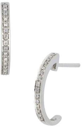 Bony Levy 18K White Gold Pave Diamond 'C' Shape 13mm Hoop Earrings - 0.07 ctw