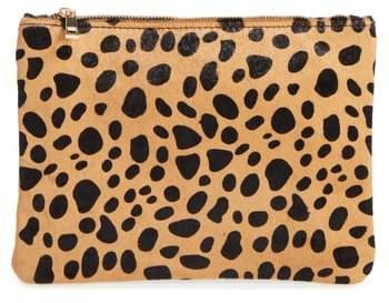 Bp. Leopard Print Genuine Calf Hair Pouch - Brown