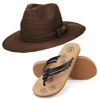 AERUSI Coco Keys Women's Year Round Floppy Straw Sun Hat and Foam Flip Flop Sandals Set US Women's Shoe Sizes 7-10