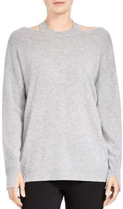 Halston Merino Wool & Cashmere Cutout Sweater