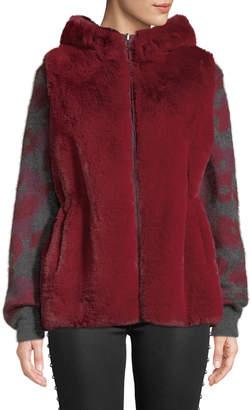 Neiman Marcus Reversible Hooded Faux-Fur Vest