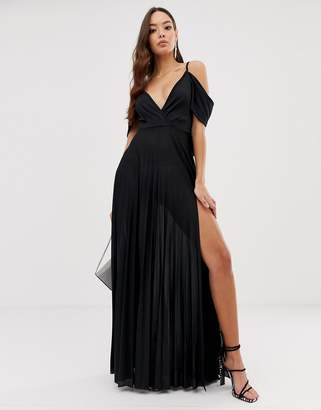 Asos Design DESIGN Cold Shoulder Cowl Back Pleated Maxi Dress