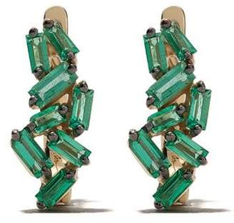 Suzanne Kalan 18kt yellow gold and emerald mini huggies