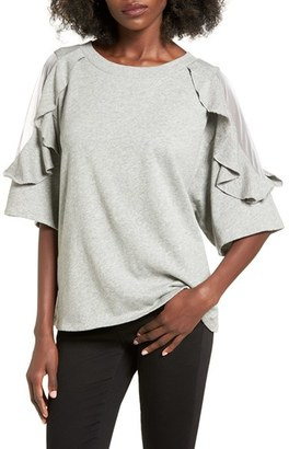 Women's Bp. Ruffle Sleeve Sweatshirt $55 thestylecure.com