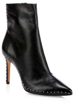 Schutz Women's Wilka Point Toe Studded Leather Booties - Black - Size 10.5