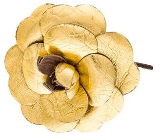 Metallic Leather Camellia Brooch