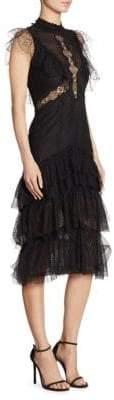 Jonathan Simkhai Ripple Tiered Lace Midi Dress