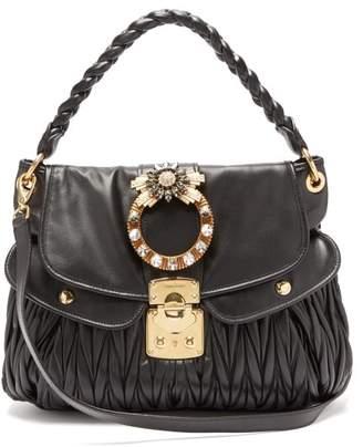 Miu Miu Coffer Mattelasse Leather Cross Body Bag - Womens - Black