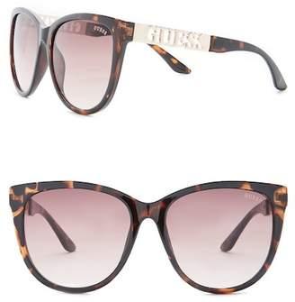 GUESS Women's Cat Eye Acetate Frame Sunglasses