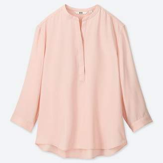 Uniqlo WOMEN Rayon Stand Collar 3/4 Sleeve Blouse