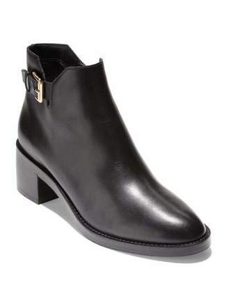 Cole Haan Harrington Grand 360 Low-Heel Leather Buckle Booties