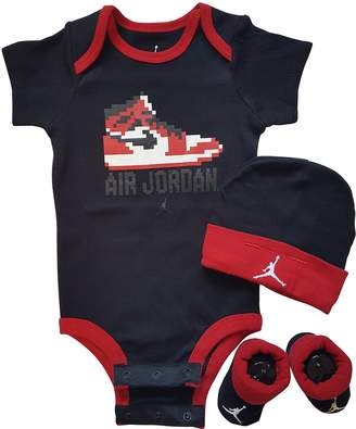 Nike Jordan 3 Piece Layette Set for Baby Boy's and Girl's, Bodysuit/Hat/Booties (0-6 Months, )