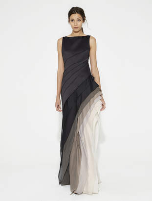 Halston Ombre Voile Satin Gown
