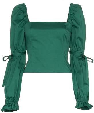 Staud Jackie square neckline cotton-blend top