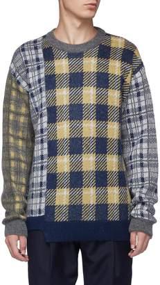 Wooyoungmi Asymmetric hem mixed check plaid sweater