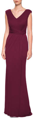La Femme V-Neck Cap-Sleeve Jersey Column Gown