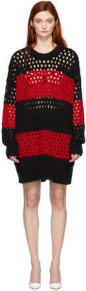 DSQUARED2 Black and Red Striped Knit Pullover Dress