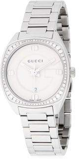 Gucci Diamond Studded White Gold Bracelet Watch