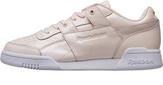 91d9984d304 Reebok Classics Womens Workout Lo Plus Iridescent Trainers Pale Pink White