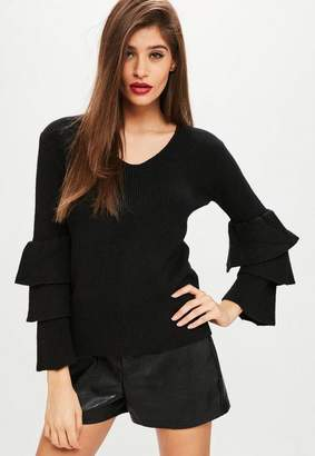 Missguided Black Tiered Sleeve Sweater