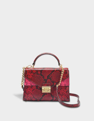 MICHAEL Michael Kors Sloan Medium Double Flap Top Handle Satchel Bag in Red Glossy Python Embossed Leather