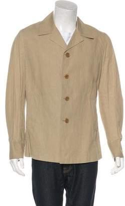 CNC Costume National Linen-Blend Button-Up Coat
